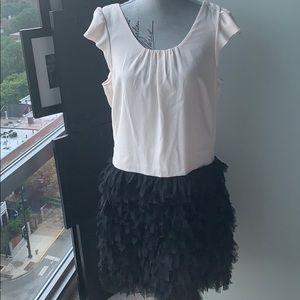 Flutter sleeve dress with tulle skirt